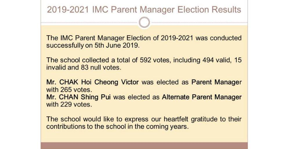 2019-2021 IMC Parent Manager Election Results