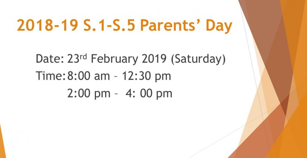 2018-19 S.1 - S.5 Parents' Day